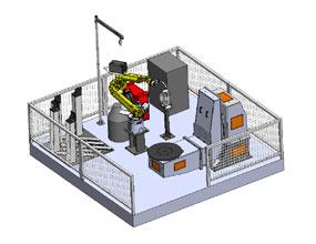 单工位L型8轴机器人工作站