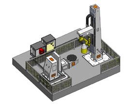 侧装立柱式L型8轴机器人工作站